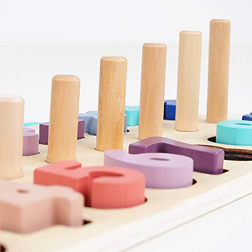 Elloapic 85 Piece Colorful Wood Numbers On the Rope Lacing Beads Maths Early Education Learning Toy