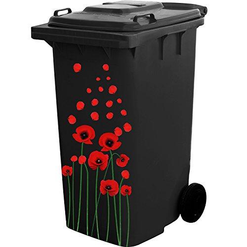 Selbstklebendes Blumenaufkleber Set für Mülleimer und Hausdekoration (Rote Blumen)
