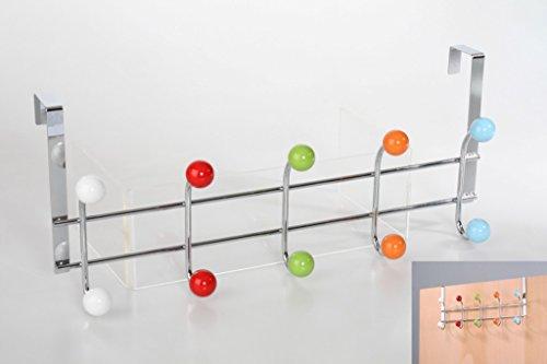 Perchero Puerta Acero Bolas Colores 45x19x11cm, Multicolor