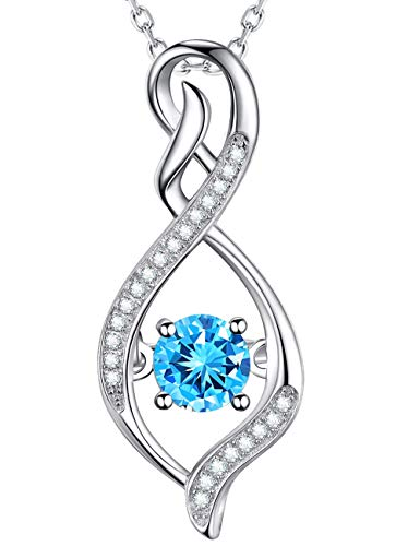 GinoMay Aquamarine Necklace for Women Teen Girls Birthday Gifts for Mum Wife Anniversary Gift for Her Forever Love Infinity Pendant Sterling Silver
