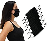 Simlu 6 Pack Unisex Reusable Pleated Fabric Face Mask with Adjustable Elastic 2 Layer, Washable, Nose Wire Black Cloth Face Mask Fits Men Women and Kids