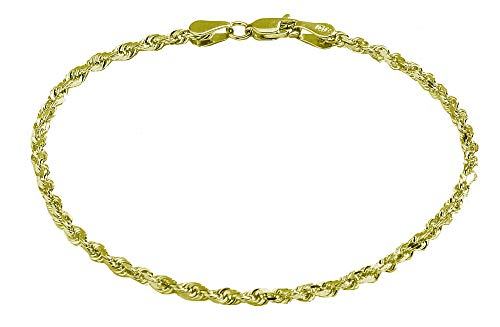 Pori Jewelers 10K Solid Gold 2.5mm Diamond Cut Rope Chain Bracelet for Women (Yellow, 7.25)