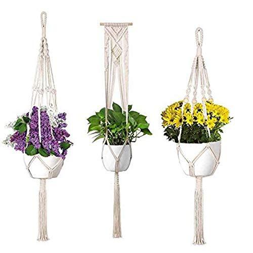 3 Stück Makramee Blumenampel Baumwollseil Hängeampel, Blumentopf Pflanzen Halter Aufhänger Pflanzenhalter für Innen Außen Decken Balkone Wanddekoration
