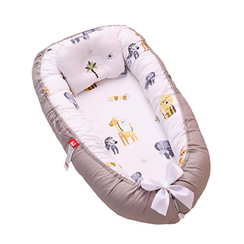 TEALP Baby Nest Grey Elephant, Baby Bassinet for Bed/Lounger/Nest/Cot Bed/Sleeping pod, Breathable & Hypoallergenic Cotton (0-24 Months)