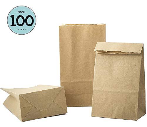 kgpack 100 STK Papiertüten klein 9 x 16 x 5 cm Kinder, Bodenbeutel, Obstbeutel, Mitgebsel Kindergeburtstag, Süßigkeiten, Geschenkverpackung, Tüten aus Braun Kraft Geschenkpapier