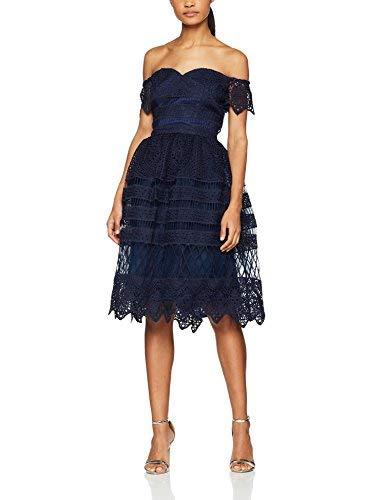 Chi Chi London Estelle Vestito Elegante, Blu (Navy), Taglia Produttore: 12 Donna