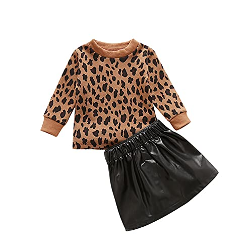 Alunsito Conjunto de 2 piezas de ropa de leopardo de manga larga + falda de cuero con cremallera vestido corto otoño invierno