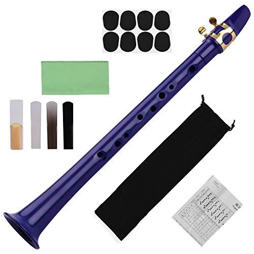Fesjoy Mini-Taschensaxophon, 11-Loch Mini Pocket Saxophon ABS mit Alto Mundstück Ligatur 4 Stück Schilf 8 Stück Zahnpolster Finger Charts Reinigungstuch Tragetasche