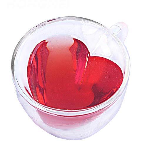 WY-YAN Amurallado doble cristal Copa Home Office Suite 4 vaso de vidrio aislante en forma de corazón copa de vino con Vasos de vidrio transparente (color: claro, tamaño: un tamaño)