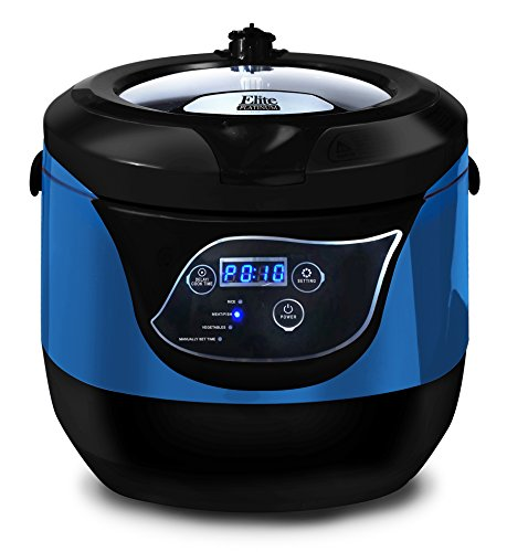Elite Gourmet Electric Digital Programmable Rice Cooker, Steamer, Multicooker, Delay Timer Energy-Saving with Tempered Glass Lid and Non-stick Pot, 20 Cups Cooked, Blue