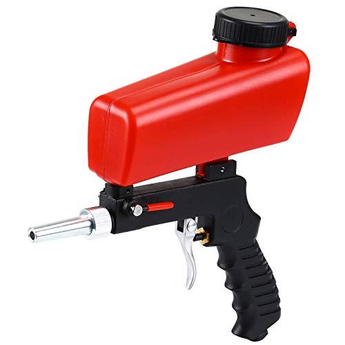 ENJOHOS Handheld Druckluft Sandstrahlpistole mit rotes Trichter,Kleine Sandstrahlmaschine, Pneumatische Sandstrahlpistole, tragbare Gravity Gun Sandblasting Pneumatic Sandblasting Set
