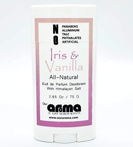 Aroma All-Natural Deodorant for Women and Men - Vegan, Gluten Free, Cruelty Free - Aluminum Free, Free of Parabens & Sulfates - Iris & Vanilla