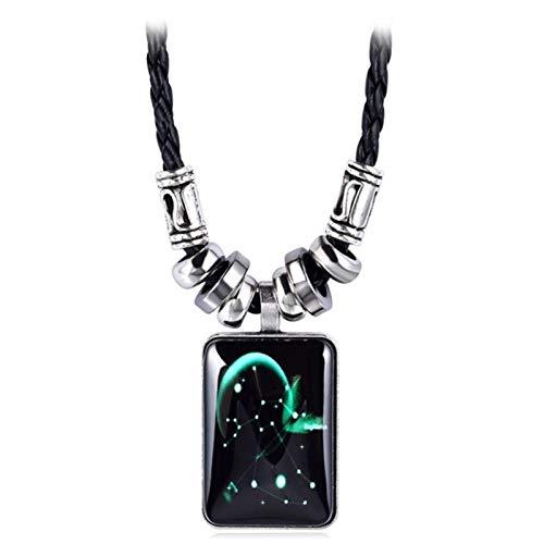 XYBB Collar de Plata de la Moda de joyería de la constelación 12 Collares Colgante for Las Mujeres de los Hombres Muchacha de la Manera Larga Cadena de Cuero (Metal Color : Sagittarius)