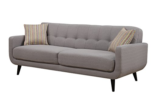 AC Pacific Crystal Collection Upholstered Charcoal Mid-Century Tufted Sofa with 2 Accent Pillows, Charcoal