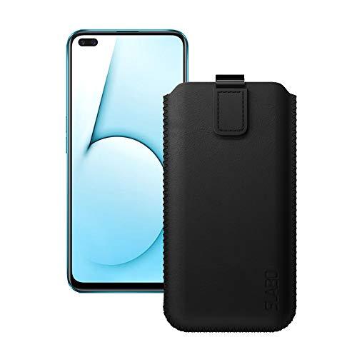 Slabo Schutzhülle für Realme X50 Pro 5G Schutztasche Handyhülle Hülle mit Magnetverschluss aus Kunstleder - SCHWARZ | Black