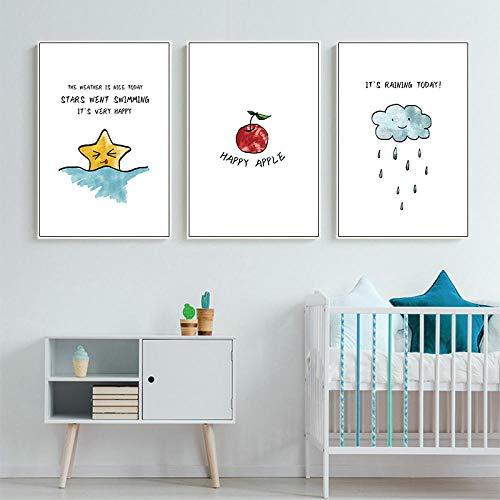 JHCT Leinwanddrucke Kinderzimmer Wandkunst Cartoon Nebel Leinwand Malerei nordischen Stil Kind Apple Poster und druckt Moderne Kinder Baby Zimmer Dekoration-40X60Cmx3 Pcs Rahmenlos