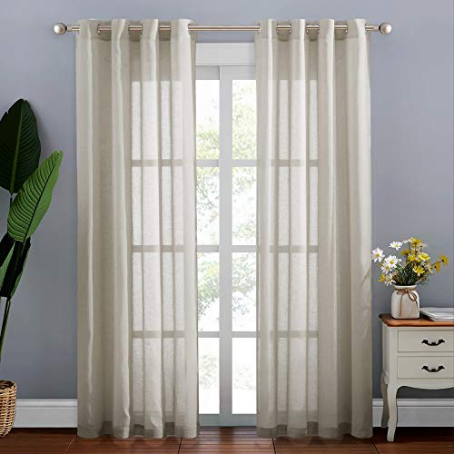NICETOWN Semi Sheer Curtains 84 inches Long, Grommet Retro Window Treatment Natural Open Linen Weave Vertical Drapes Privacy with Light Through for Living Room, 52 inches Wide, Beige, 2 Panels