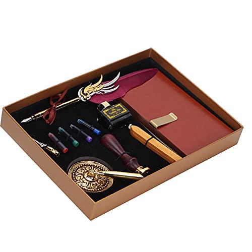 Kit de caja de regalo de pluma de pluma con cuaderno de cuero, juego de bolígrafo de escritura de caligrafía artística, regalo para fiesta de cumpleaños, regalos de Navidad(vino tinto)