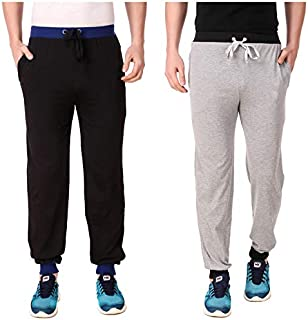 Cynak Men's Cotton Trackpants with Both Side Zipper Pockets (Multi Color) (Medium Size) (Pack of 2 Trackpants)