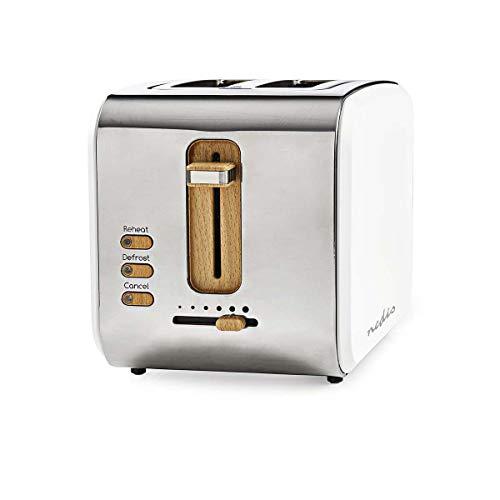 Nedis - Toaster - 2 breite Öffnungen - Soft-Touch - 6 verschiedenen Stufen - Auftau- und Aufwärmfunktion - Krümelschublade - Selbstabschaltung - Abbruch-Funktion - Soft-Touch-Oberfläche - 900 W - Weiß