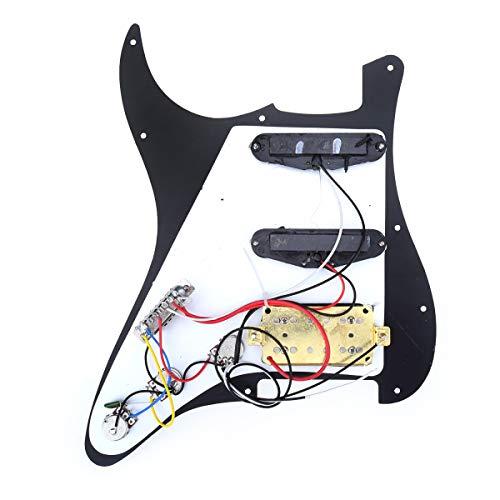 Musiclily 11 Agujeros HSS Pre-cargado Pickguard Golpeador Con Pastillas para Guitarra Eléctrica Estilo ST,3 capas Negro