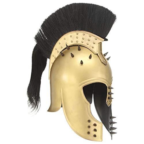 HUANGDANSP Griechischer Krieger-Helm Antik Replik für LARP Messing StahlKunst Unterhaltung Hobby Kunst Sammlerstücke Sammlerwaffen