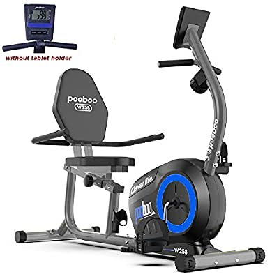 pooboo Magnetic Recumbent Exercise Bike Indoor Cycling Bike Stationary Bike with Pulse, Monitor and Adjustable Seat, without Iphone Holder
