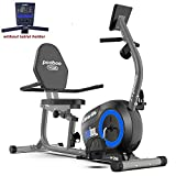 pooboo Magnetic Recumbent Exercise Bike Indoor Cycling Bike Stationary Bike with Pulse, Monitor and Adjustable Seat,Iphone Holder(Blue)