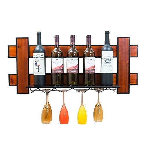 Estantería de vino Estantes for vino Estantes for vino Loft de madera Estante de madera, metal, materiales de hierro Colgando Estantes de vino de pared de almacenamiento y marco de vino Copas de vino