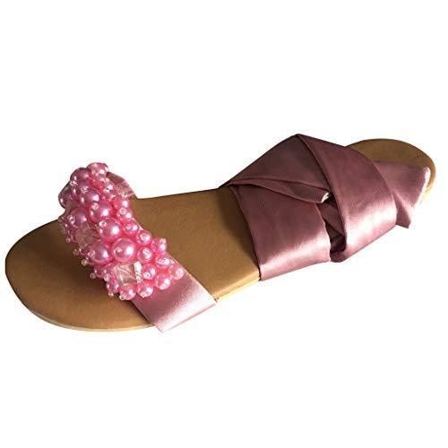 Sandalias planas para mujer, con punta abierta, diseño de flores, con correa de cruz, estilo romano, con punta abierta, cómodas, informales, para la playa, color, talla 38 EU
