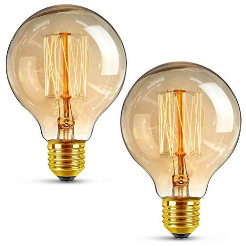 KKTICK Edison Vintage Glühbirne, G80 Globe Gluehbirne Vintage Lampe E27 4W Warmweiß Retro Dekorative Glühbirne Antike Glühlampe Ideal für Nostalgie und Retro Beleuchtung im Haus Café Bar - 2 Stück