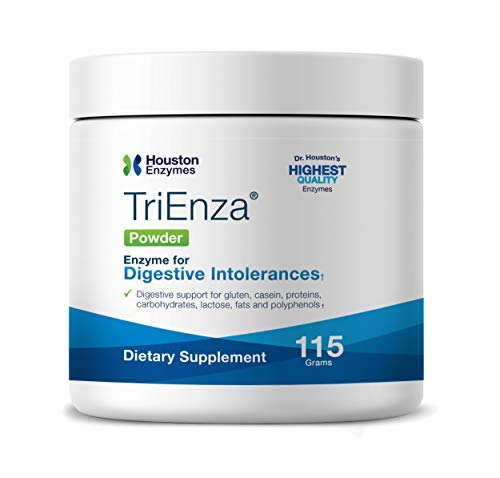 Houston Enzymes – TriEnza – Broad-Spectrum Enzymes for Digestive Intolerances – Supports Digestion of Gluten, Casein, Soy, Proteins, Carbohydrates, Sugars, Fats & Phenols (115 Gram Powder)