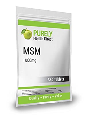 MSM 1000mg ONE YEARS SUPPLY - 360 Vegetarian Tablets Compliance to ISO 9001:2015 & BCMPA