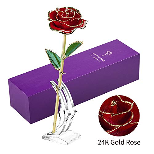 LUOHE 24k Gold Rose Galaxy Flower, Romantic Valentine's Day for Her Girlfriend Wife Women Ideas Long Stem Real Rose Birthday Wedding Gifts from Husband Son