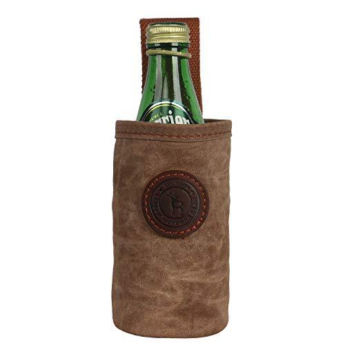 TOURBON Canvas en Lederen Taille Bier Riem Tas Drink Water Fles Wijn Whisky Taille Houder Tas voor Outdoor ActiviteitenWandelen Camping hardlopen Jacht