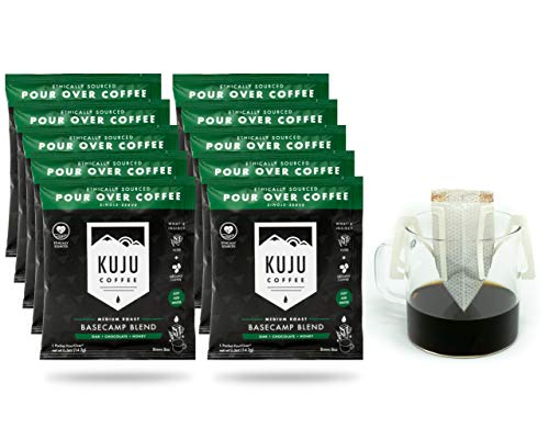 Kuju Coffee Premium Single-Serve Pour Over Coffee | Ethically Sourced, Specialty Grade, Eco-Friendly | Basecamp Blend, Medium Roast, 10-pack