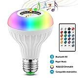 2 EN 1 Lampe Ampoule Bluetooth LED Couleurs E27 Enceinte Musique Hauts-parleurs RGB Lampe Couleur Intelligente Lumières Colorées Sans fils Lecture de musique Télécommande Ampoules Spéciales