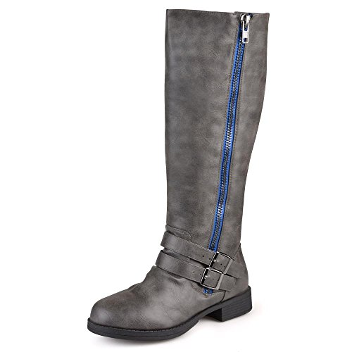 Journee Collection Womens Regular Sized and Wide-Calf Side-Zipper Buckle Knee-High Riding Boots Grey, 9 Wide Calf US