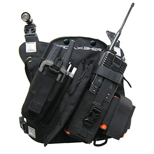 Coaxsher Radio Chest Harness Rig for 2 Way Radio, GPS and Hand Held Electronics | Ideal for Tactical Search and Rescue, Ski Patrol, Military and Emergency Response Personnel (RCP-1 Pro)
