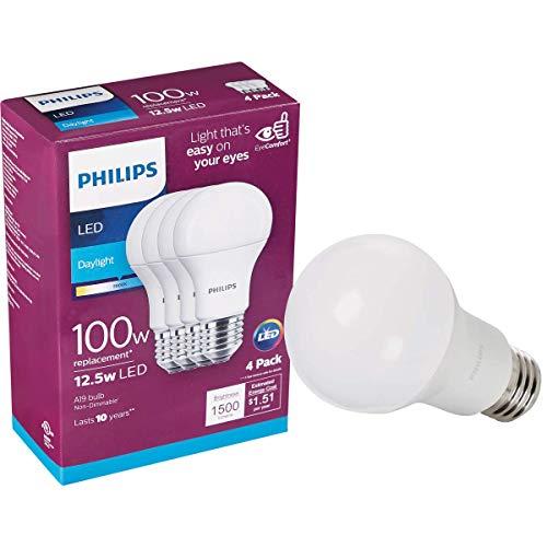 Philips LED 542976 Non-Dimmable A19 Light Bulb: 1500-Lumen, 5000-Kelvin, 15 (100 Watt Equivalent), E26 Base, Daylight, 4-Pack, White, 4 Piece