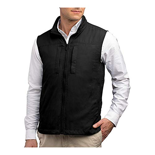 SCOTTeVEST Featherweight Men - Lightweight Vest - Travel - Utility - Safari Vest (BLK XL)