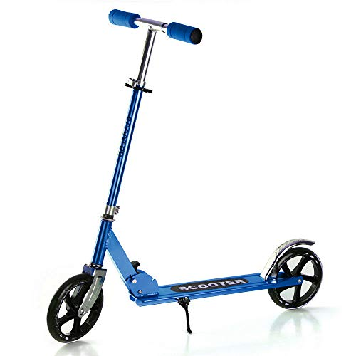 Folding Scooters with 200mm Large Wheels, Kick Scooter for Kids 10 Years and up/Adults + Adjustable Height + Shoulder Strap, Smooth Ride Commuter Portable Scooter Best Gift for Teens (Blue Scooter)