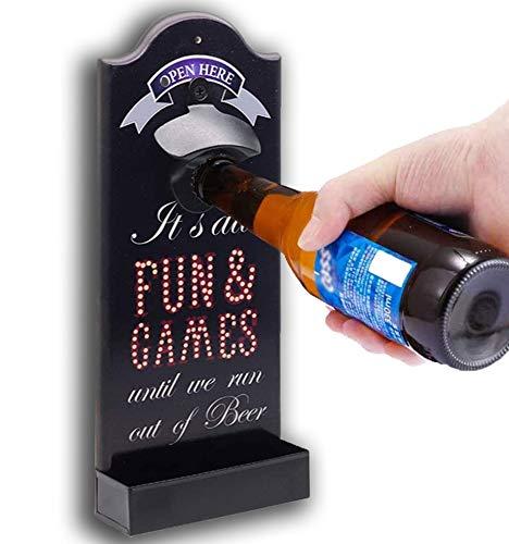 GWL Cavatappi con ripiano portaoggetti, Cavatappi per birra, Apribottiglie da Parete, Cavatappi a Muro da Legno con Stile retrò, per matrimonio, KTV, compleanno, festa, all'aperto, ottimo regalo