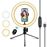 10.2' Selfie Ring Light with Stand & Flexible Phone Holder,3 Light Modes & 10 Brightness,Desktop Ringlight for YouTube Video/Tiktok/Live Stream/Makeup,Remote Control Compatible with iPhone Android