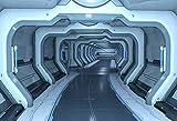 Leowefowa Spaceship Interior Backdrop Module Cabin Backdrop 10x8ft Vinyl Photography Backgroud Metallic Hallway Tunnel Backgroud Planet Earth Footed Shuttle Exploration Boys Birthday Photo Backdrop