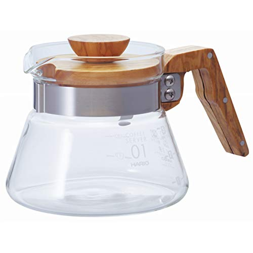 Hario 400 ml Olive Wood neue Kaffee-Server, Transparent