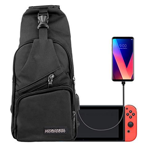 EEEKit Mochila Bolsa de Viaje Crossbody para Nintendo Switch Console y Accesorios, cargue su teléfono a través de la Interfaz de Carga USB Lateral
