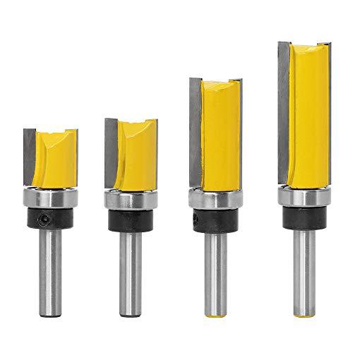 Gasea 4pcs 8mm Tige Motif de Garniture Routeur Bits Set Template Trim Routeur Bits Routeur de Motif de Finition Affleurant Outil de Coupe de Fraisage du Bois 20mm, 25mm, 38mm, 50mm