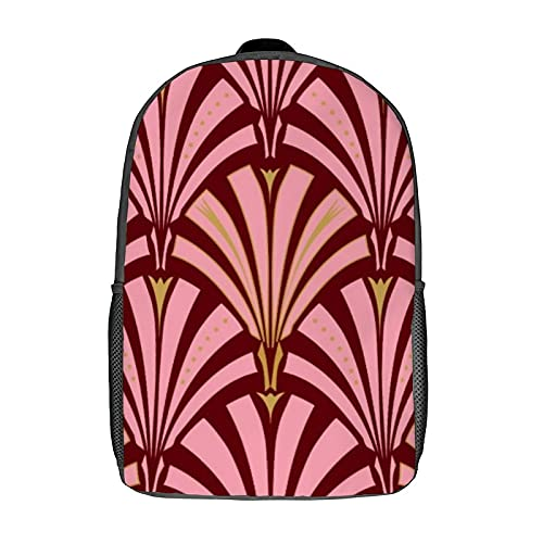 Mochilas, mochilas escolares, mochila de ordenador para mujeres, niñas, niños, hombres, viajes, negocios, 43 cm, diseño de abanico Art Deco rosa y granate