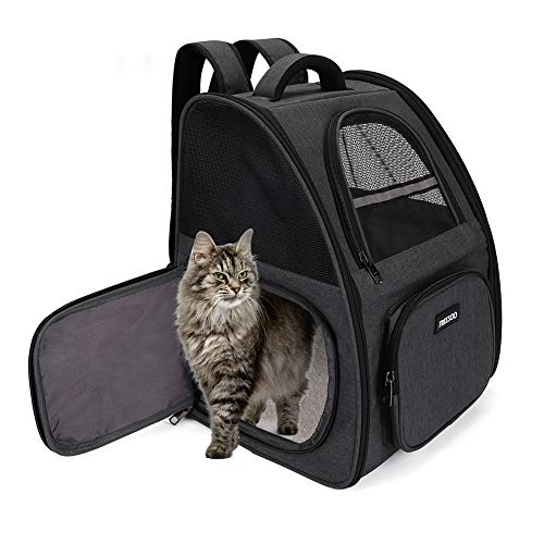 FREESOO Hunderucksack Haustier Rucksäcke Katzenrucksack Tragetasche Katze Faltbare Transporttasche Hundetransportbox Hundebox Hundehütte Atmungsaktive Reisebox Reisetasche Grau (maximale Last 12kg)